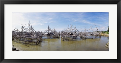 Framed Fishing platforms along coast of Madura Island, Indonesia Print