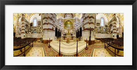 Framed Interiors of the basilica, Notre Dame De La Garde, Marseille, Bouches-du-Rhone, Provence-Alpes-Cote D'Azur, France Print