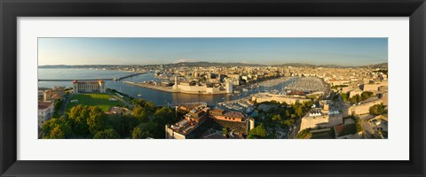 Framed High angle view of a city with port, Marseille, Bouches-du-Rhone, Provence-Alpes-Cote D'Azur, France Print