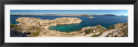 Framed Town of Marseille in the background, Mediterranean Sea, Provence-Alpes-Cote D'Azur, France Print
