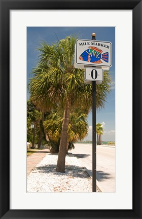 Framed Mile marker zero at Pass-A-Grille, St. Pete Beach, Tampa Bay Area, Tampa Bay, Florida, USA Print