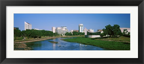 Framed Downtown Wichita viewed from the bank of Arkansas River, Kansas Print