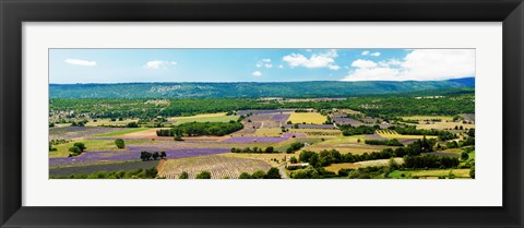 Framed Aerial view of fields, Provence-Alpes-Cote d'Azur, France Print