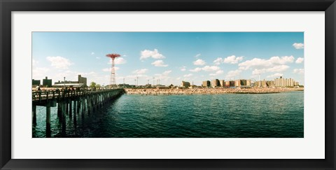 Framed People on the beach, Coney Island, Brooklyn, Manhattan, New York City, New York State, USA Print