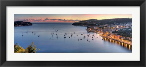 Framed Elevated view of a city at dusk, Villefranche-Sur-Mer, Alpes-Maritimes, Provence-Alpes-Cote d'Azur, France Print