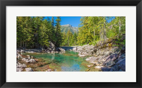 Framed McDonald Creek along Going-to-the-Sun Road at US Glacier National Park, Montana, USA Print