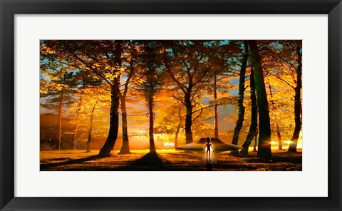 Framed Alien and UFO in the forest Print