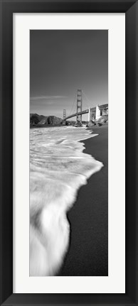 Framed Suspension bridge across a bay in black and white, Golden Gate Bridge, San Francisco Bay, San Francisco, California, USA Print
