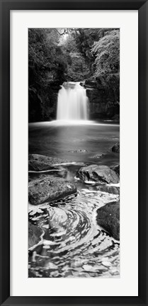 Framed Waterfall In A Forest, Thomason Foss, Goathland, North Yorkshire, England, United Kingdom (black and white) Print