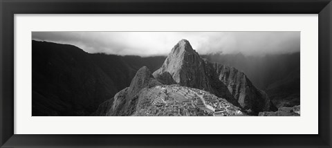 Framed Ruins, Machu Picchu, Peru (black and white) Print