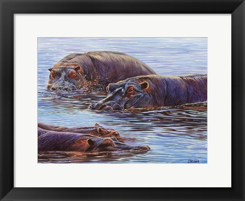 Framed Hippo Pond Print