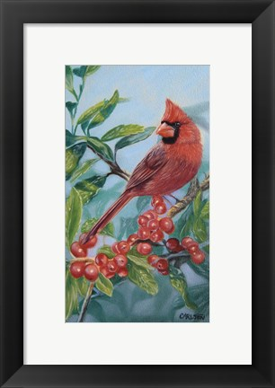 Framed Cardinal And Berries Print