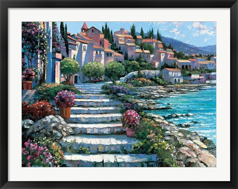 Framed Steps of St. Tropez Print