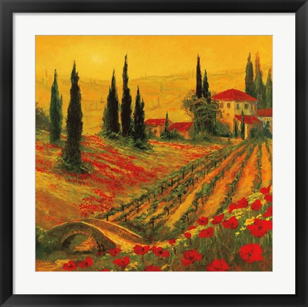 Framed Poppies of Toscano I Print
