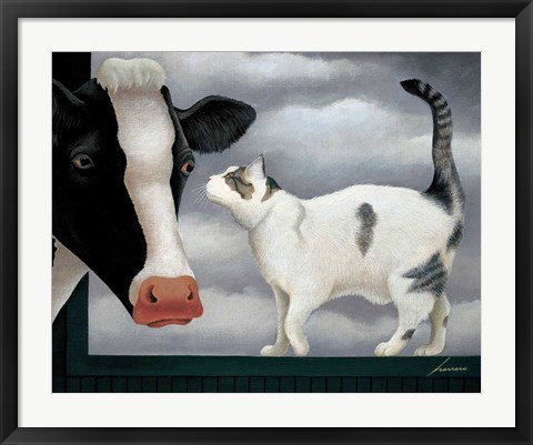 Framed Cow and Cat Print