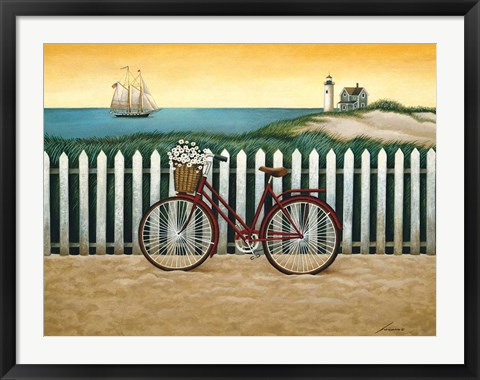 Framed Cycle to the Beach Print