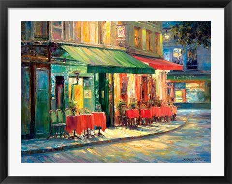 Framed Red & Green Cafe Print