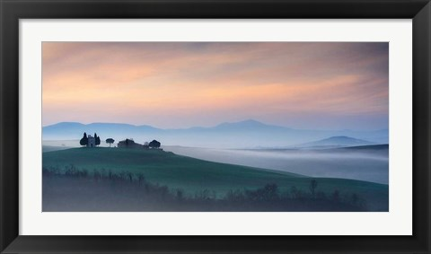 Framed Capella di Vitaleta at Dawn - Tuscany I Print