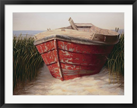 Framed Red Boat Print