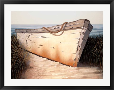 Framed White Boat Print