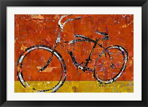 Framed Gold and Orange Bike Print