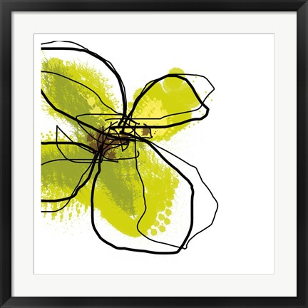 Framed Green Petals Print