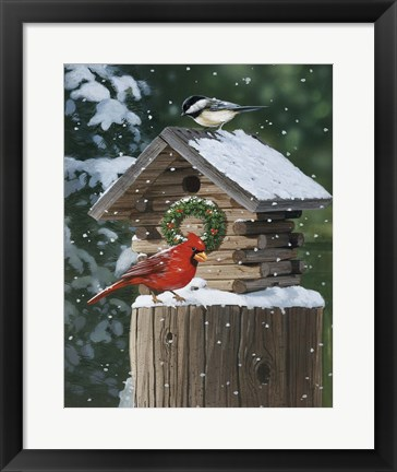 Framed Cardinal / Chickadee In Snow Print