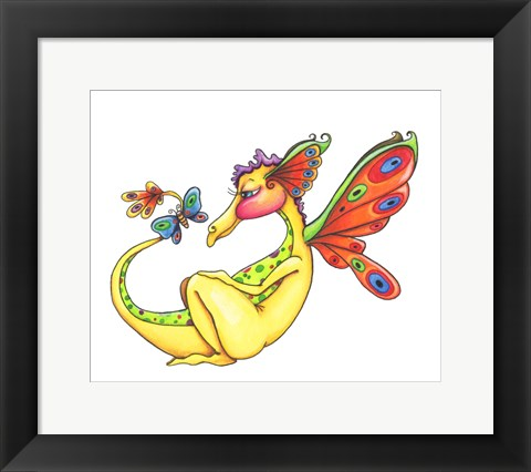 Framed Cheerful - Dragon 10 Print