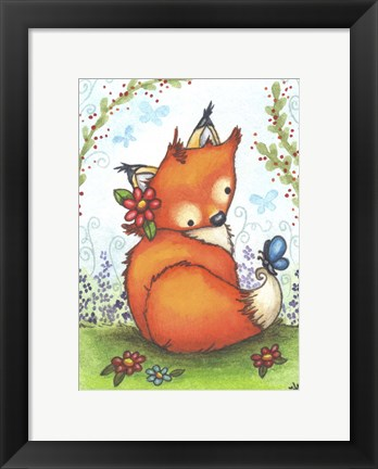 Framed Little Fox in the Garden Print