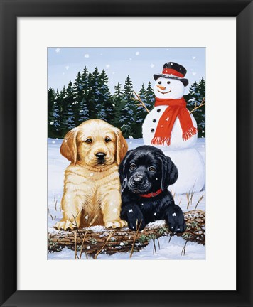 Framed Lab Puppies With Snowman Print