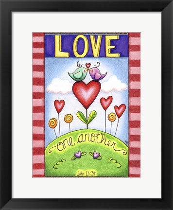 Framed Love One Another (Birds) Print