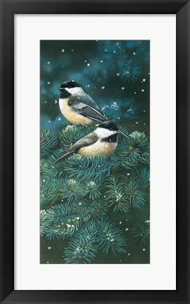 Framed Chickadees Print