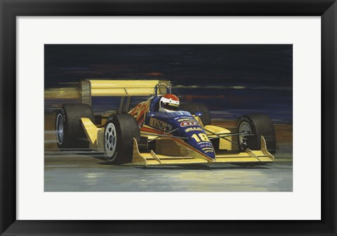Framed Yellow Race Car Print