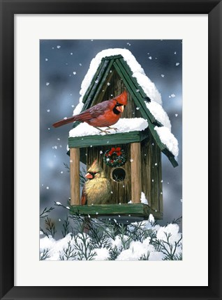Framed Cardinals And Birdhouse In Snow Print
