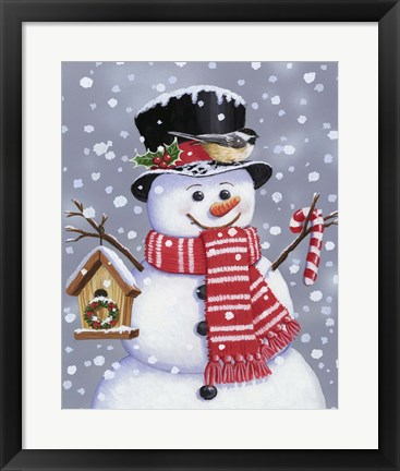 Framed Snowman With Tophat Print