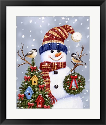 Framed Snowman With Wreath Print