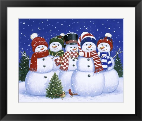 Framed Five Snowmen Print