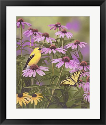 Framed Butterfly & Finch Amongst Flowers Print
