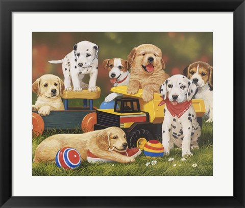 Framed Puppy Play Group Print