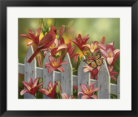 Framed Cardinal and Lilies Print