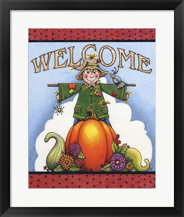 Framed Scarecrow Welcome Print