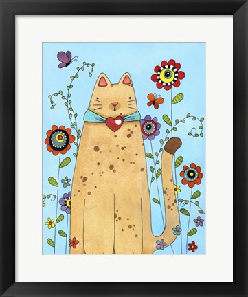 Framed Kitty in the Garden Print