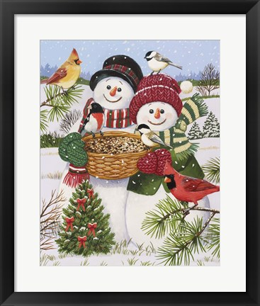 Framed Snow Couple Feeding Birds Print