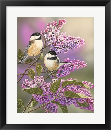 Framed Lilacs and Chickadees Print