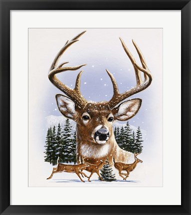 Framed Whitetail Deer Montage/ Winter Print