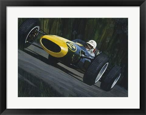 Framed Blue Race Car Print