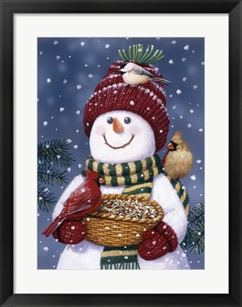 Framed Snowman Feeding Birds Print