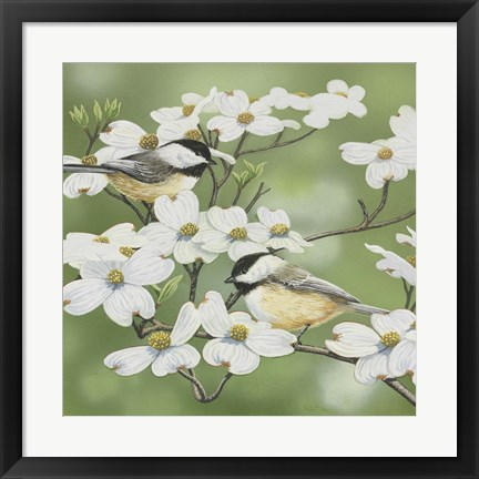 Framed Springtime And Chickadees Print