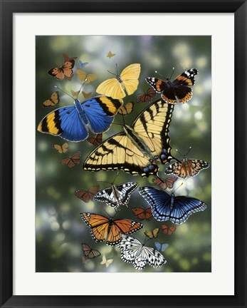 Framed Flying Flowers Print
