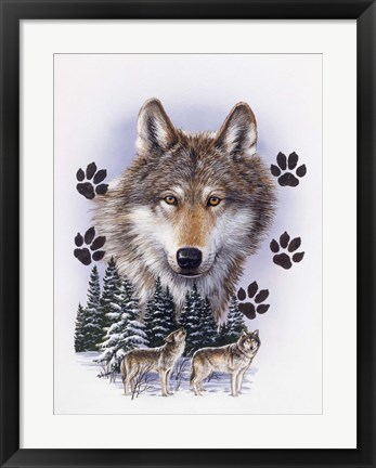 Framed Wolf Montage/ Winter Print